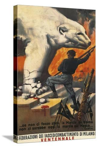 Second World War Propaganda Poster - Federation of Italian Leagues of Combat, 1942-Alberto Amorico-Stretched Canvas Print