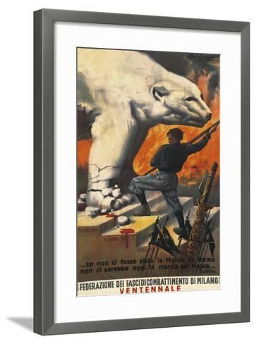Second World War Propaganda Poster - Federation of Italian Leagues of Combat, 1942-Alberto Amorico-Framed Art Print