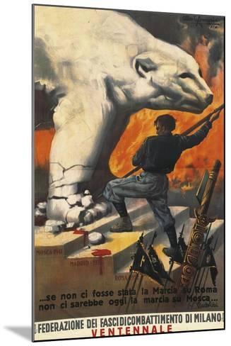 Second World War Propaganda Poster - Federation of Italian Leagues of Combat, 1942-Alberto Amorico-Mounted Giclee Print