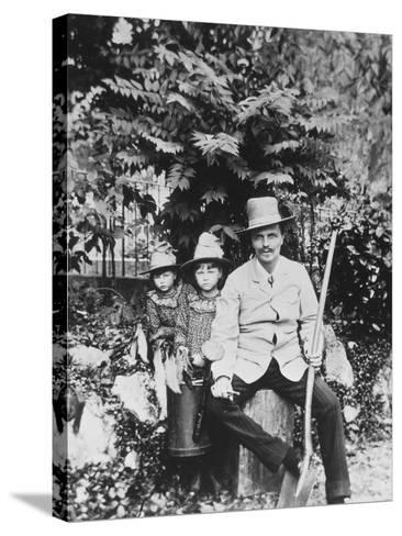 Self Portrait of August Strindberg, with His Children in the Country, 1886-August Johan Strindberg-Stretched Canvas Print