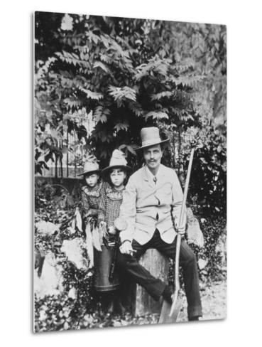 Self Portrait of August Strindberg, with His Children in the Country, 1886-August Johan Strindberg-Metal Print