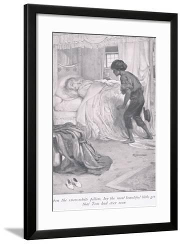 Upon the Snow White Pillow, Lay the Most Beautiful Little Girl That Tom Had Ever Seen-Arthur A^ Dixon-Framed Art Print