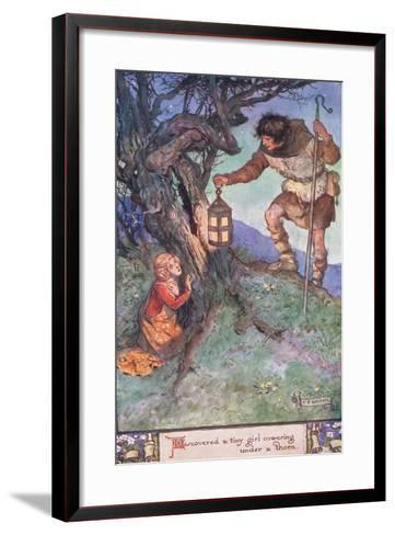 Discovered a Tiny Girl Cowering under a Thorn Bush-Charles Edmund Brock-Framed Art Print