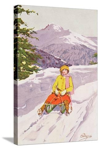 Young Woman Tobogganing-Carlo Pellegrini-Stretched Canvas Print