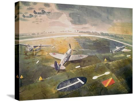 R.A.F. Planes on an Airfield-Eric Ravilious-Stretched Canvas Print