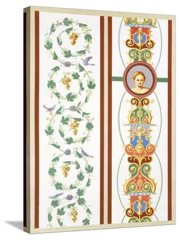 Reproduction of a Fresco with Ornamental Motifs, from the Houses and Monuments of Pompeii-Fausto and Felice Niccolini-Stretched Canvas Print