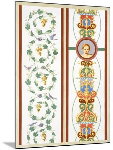 Reproduction of a Fresco with Ornamental Motifs, from the Houses and Monuments of Pompeii-Fausto and Felice Niccolini-Mounted Giclee Print