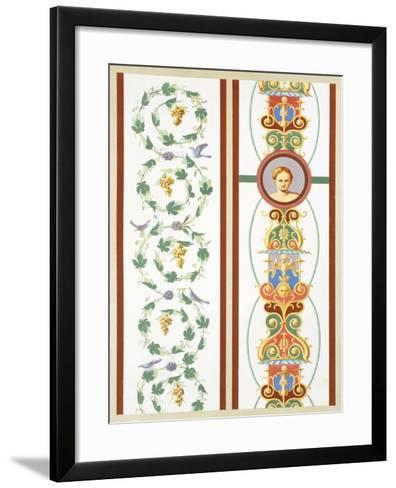 Reproduction of a Fresco with Ornamental Motifs, from the Houses and Monuments of Pompeii-Fausto and Felice Niccolini-Framed Art Print