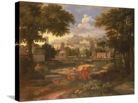 Landscape with Moses Saved from the River Nile-Etienne Allegrain-Stretched Canvas Print