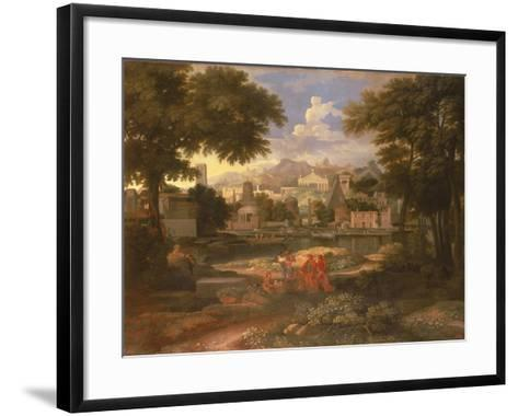 Landscape with Moses Saved from the River Nile-Etienne Allegrain-Framed Art Print
