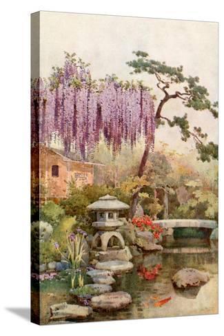 Wistaria in a Kyoto Garden-Ella Du Cane-Stretched Canvas Print