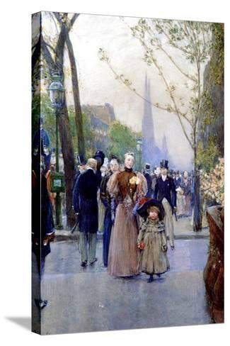 5th Avenue, Sunday, 1890-91-Childe Hassam-Stretched Canvas Print