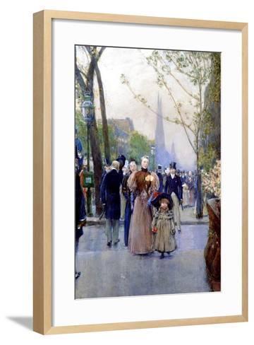 5th Avenue, Sunday, 1890-91-Childe Hassam-Framed Art Print