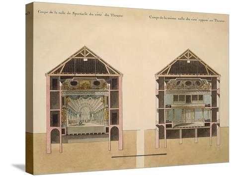 Cross Section of Theatre with Stage and Stalls, 1781-Claude Louis Chatelet-Stretched Canvas Print