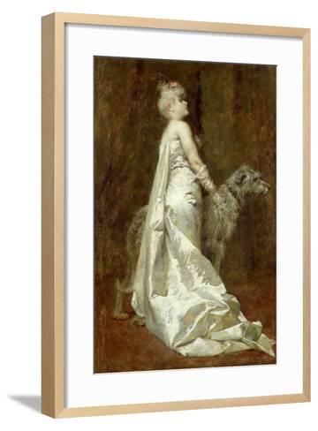 White Dress and Dog-Eugenio Scomparini-Framed Art Print