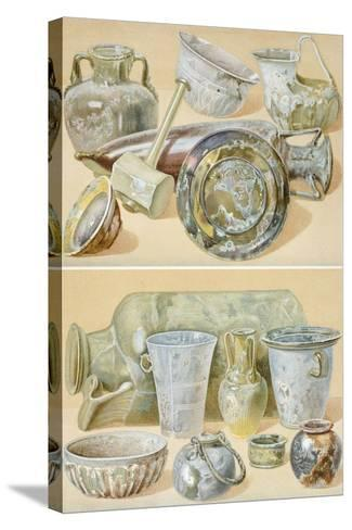 Reproduction of Glass Objects, from the Houses and Monuments of Pompeii-Fausto and Felice Niccolini-Stretched Canvas Print