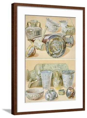 Reproduction of Glass Objects, from the Houses and Monuments of Pompeii-Fausto and Felice Niccolini-Framed Art Print