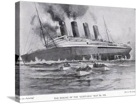 The Sinking of the Lusitania, May 7, 1915-Charles John De Lacy-Stretched Canvas Print