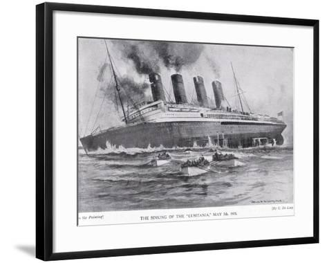The Sinking of the Lusitania, May 7, 1915-Charles John De Lacy-Framed Art Print