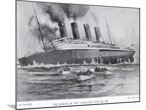 The Sinking of the Lusitania, May 7, 1915-Charles John De Lacy-Mounted Giclee Print