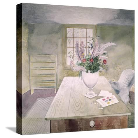 Garden Flowers on a Cottage Table-Eric Ravilious-Stretched Canvas Print