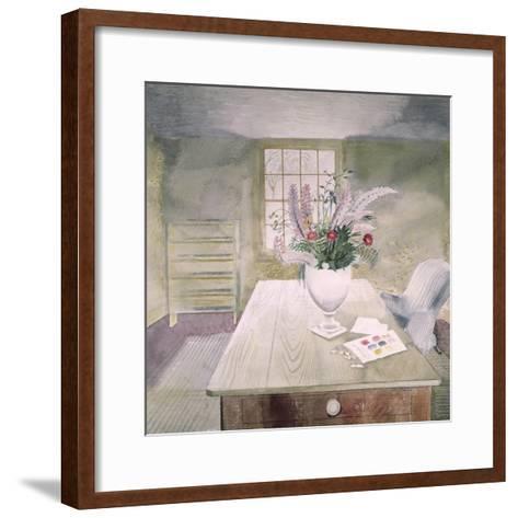 Garden Flowers on a Cottage Table-Eric Ravilious-Framed Art Print