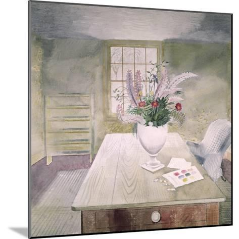 Garden Flowers on a Cottage Table-Eric Ravilious-Mounted Giclee Print