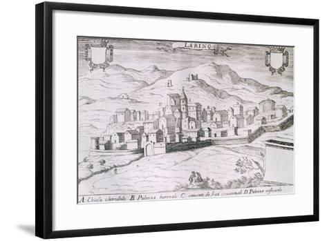 View of the City of Larino, Molise, from the Kingdom of Naples in Perspective-Giovan Battista Pacichelli-Framed Art Print