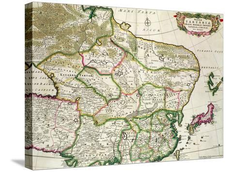 Map of Mongolia Showing Part of Russia, Japan and China, C.1680-Frederick de Wit-Stretched Canvas Print