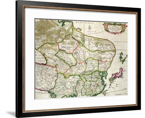 Map of Mongolia Showing Part of Russia, Japan and China, C.1680-Frederick de Wit-Framed Art Print