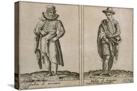 Merchants and Craftmens' Clothing, Taken from Outfits of Venicen Men and Women-Giacomo Franco-Stretched Canvas Print