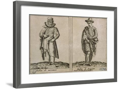 Merchants and Craftmens' Clothing, Taken from Outfits of Venicen Men and Women-Giacomo Franco-Framed Art Print