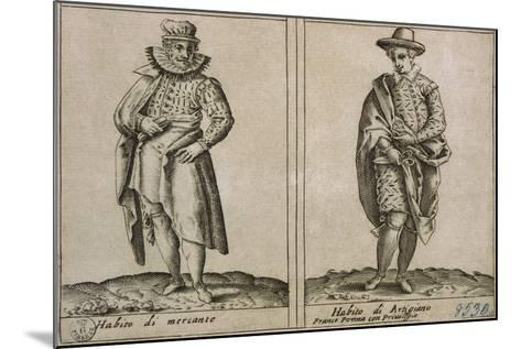 Merchants and Craftmens' Clothing, Taken from Outfits of Venicen Men and Women-Giacomo Franco-Mounted Giclee Print