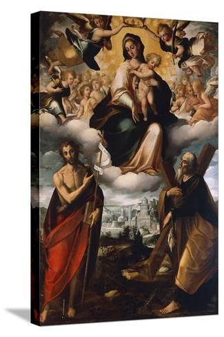 Madonna in Glory with Child, St John the Baptist and St Andrew, before 1626-Giovanni Domenico Catalano-Stretched Canvas Print
