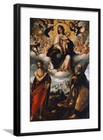 Madonna in Glory with Child, St John the Baptist and St Andrew, before 1626-Giovanni Domenico Catalano-Framed Art Print