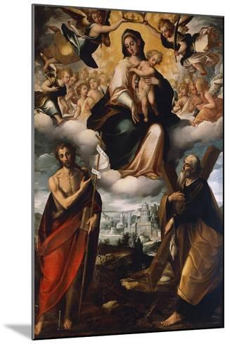 Madonna in Glory with Child, St John the Baptist and St Andrew, before 1626-Giovanni Domenico Catalano-Mounted Giclee Print