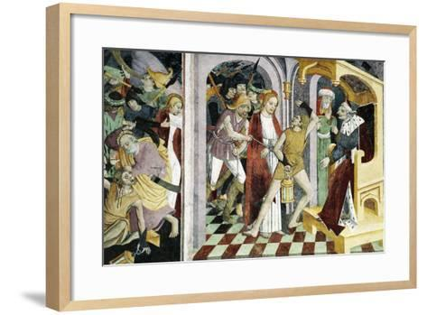 France, La Brigue, Notre-Dame Des Fontaines Chapel, Jesus Christ before Annas, 1491-Giovanni Canavesio-Framed Art Print