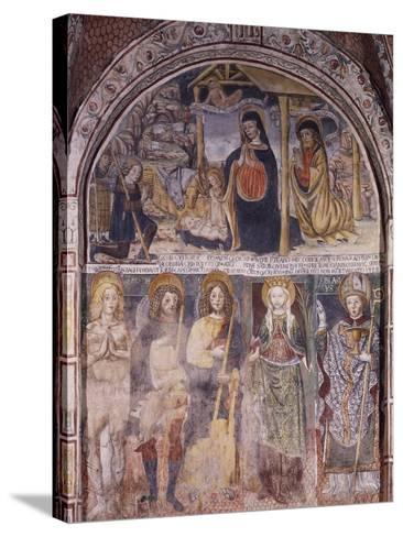 Nativity and Saints, Fresco-Gaudenzio Ferrari-Stretched Canvas Print