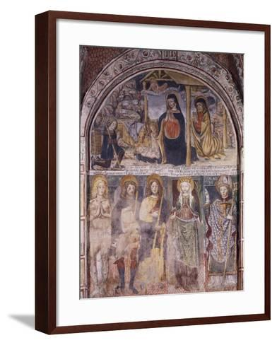 Nativity and Saints, Fresco-Gaudenzio Ferrari-Framed Art Print