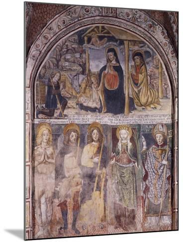 Nativity and Saints, Fresco-Gaudenzio Ferrari-Mounted Giclee Print