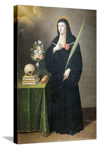 St Gertrude, 17th-18th Century-Francisco de Leon-Stretched Canvas Print