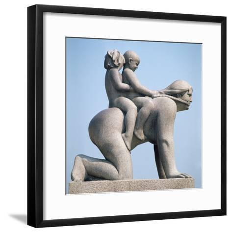 Woman with Two Children Riding on Her Back-Gustav Vigeland-Framed Art Print