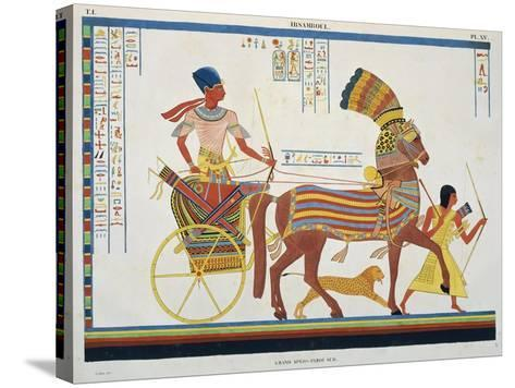 Reproduction of Fresco Depicting People with Chariot, Abu Simbel Temple-J.F. Champollion-Stretched Canvas Print