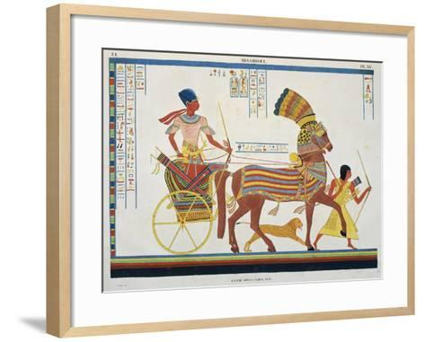 Reproduction of Fresco Depicting People with Chariot, Abu Simbel Temple-J.F. Champollion-Framed Art Print