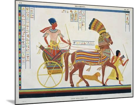 Reproduction of Fresco Depicting People with Chariot, Abu Simbel Temple-J.F. Champollion-Mounted Giclee Print