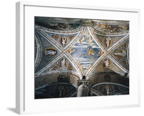 Rape of Ganymede and Putti, Mosaic Niches and Statues-Girolamo Romanino-Framed Art Print