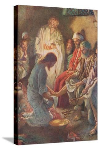 A Lesson in Humility-Harold Copping-Stretched Canvas Print