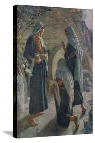 Woman at the Sepulchre-Harold Copping-Stretched Canvas Print