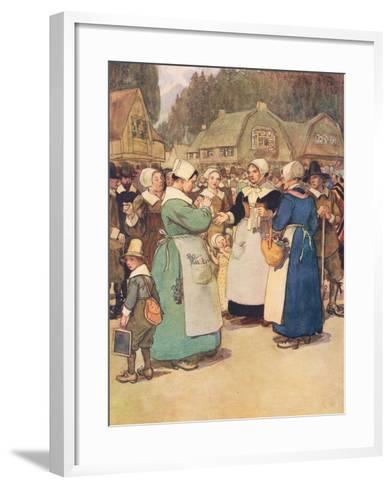 """""""Goodwives,"""" Said a Hard Featured Dame, """"I'll Tell Ye a Piece of My Mind""""-Hugh Thomson-Framed Art Print"""