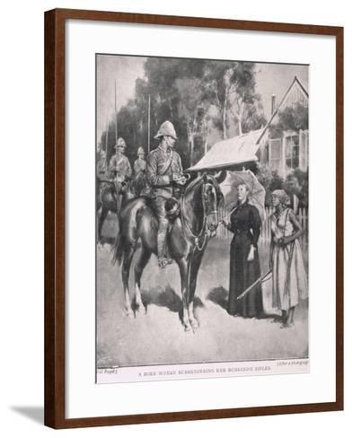 A Boer Woman Surrendering Her Husband's Rifles-Henry Marriott Paget-Framed Art Print
